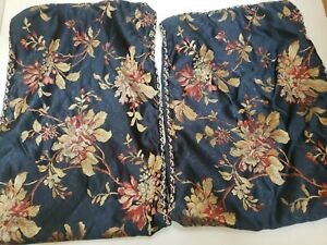 Croscill Home Galleria Pillow Shams Blue / Gold / Flowers Set of 2/ Excellent