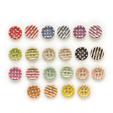 15mm 50pcs 2 Hole Mixed Stripes Origin Cute Round Wood Buttons