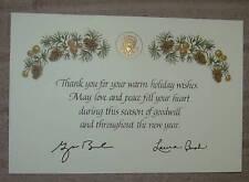 PRES GW BUSH LAURA CHRISTMAS THANK U  NEW YEAR CARD GOLD EAGLE  PINE CONE