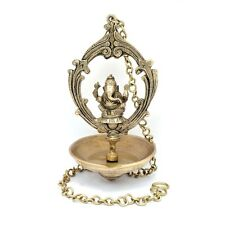 RELIGIOUS EDH Ganesha Ganesh Hanging Oil Lamp Brass Statue Sculpture Ganapati