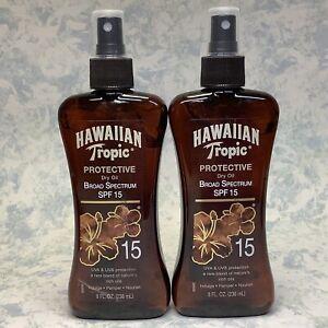 Hawaiian Tropic Protective Dry Oil Spray SPF 15 - 8oz ( Lot of 2 ) New