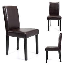 Elegant Design Set of 2 Dining Chair Kitchen Dinette Room Browm Leather