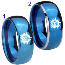 Tungsten Supernatural 8MM Blue Mirror Dome 2 Tone Engagement Band Ring