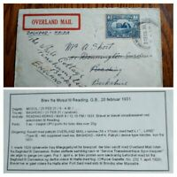 """EXT RARE IRAQ 1931 """"ONLY 15 KNOWN"""" OVERLAND MAIL COVER """"BAGHDAD-HAIFA"""" PALESTINE"""