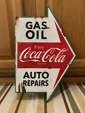 Coca Cola Gas Oil Auto Repairs Metal Sign Arrow Coke Vintage Style Button Garage