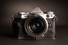 Genuine real Leather Half Camera Case bag for Olympus OM-D E-M5 EM5 II M2 Black
