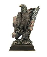 "10.5"" American Bald Eagle on Branch & Flag Statue Collectible Patriotic Figurine"