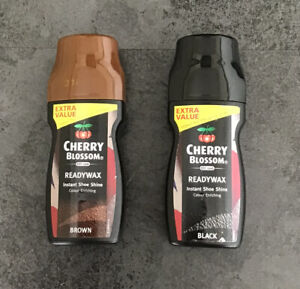2 x 100ml Cherry Blossom Black Brown Leather Shoe Polish Cleaner Ready Use Wax