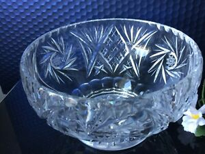 VTG Heavy Cut Crystal Glass Trifle Dish Floral Design Pressed Footed Fruits Bowl