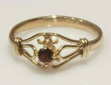 Vintage 9ct Gold Garnet Solitaire Ring Size M
