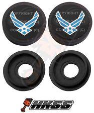 2 Black Custom License Plate Frame Tag Screw Cap Covers - USAF AIR FORCE B RX1
