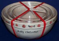 WONDERFUL NEW SET OF 3 RAE DUNN BY MAGENTA PEPPERMINT CHRISTMAS MIXING BOWLS
