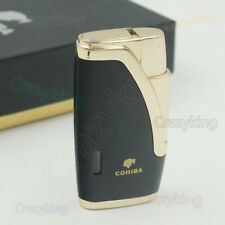 COHIBA Black Metal 2 TORCH JET FLAME CIGARETTE  CIGAR LIGHTER WITH Cigar PUNCH
