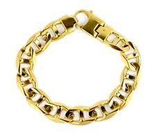"Italy Men's 14k Yellow Gold Heavy 15mm Mariner Anchor Chain Link Bracelet 9.75"""