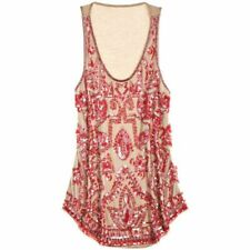 NEW Calypso St. Barth Melissa Sequin Embellished Tank Top Beige Pink on NUDE S
