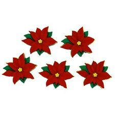 Jesse James Buttons - Dress It Up ~ RED POINSETTIAS 2951 ~ Christmas / Sew Craft