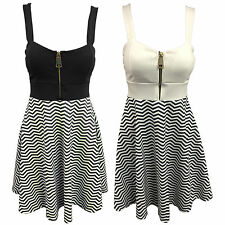 Thigh-Length Skater Striped Dresses for Women