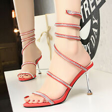 Women Rhinestone Lace Up Stilettos Open Toe High Heel Gladiator Sandals Shoes