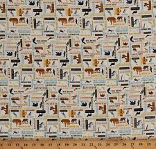 Cotton National Parks Wildlife Animals Words on Cream Fabric Print BTY D472.29