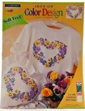 1995 VTG ColorPoint Painstitching Transfer Pattern Pansy Heart Fabric Paint 7469