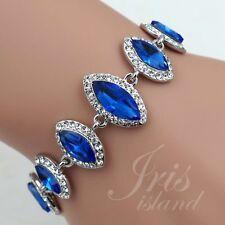 Hot Rhodium Plated Blue Ruby Crystal Rhinestone Bracelet 00567 Fashion Jewelry