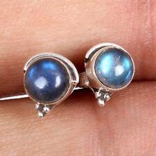 Real Cab LABRADORITE Oval Gemstones 925 Sterling Silver Stud Earrings c-6080