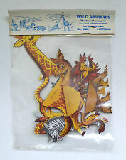 Vintage Paper Toy WILD ANIMALS Party Favor Table Decoration Set MIP 1970's