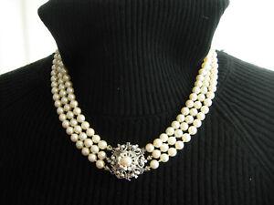 Akoja  Perlenkette  Collier  echte Perlen  edel   750 Weißgold  Saphiere