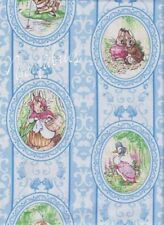 Beatrix Potter Fabric Benjamin Bunny Peter Rabbit Victorian CAMEO on Blue
