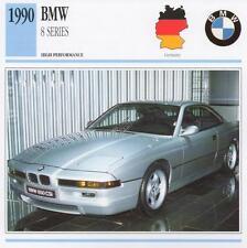 1990 BMW 8 Series Classic Car Photo/Info Maxi Card