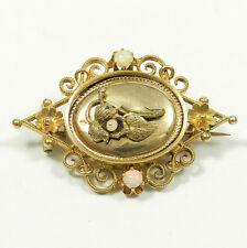 Biedermeier Brosche in 585 Gold mit aufgelegtem Blatt & Opalen um 1860 Brooch