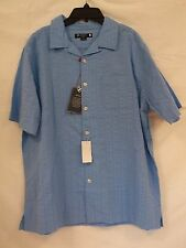 Cremieux Sz L Large Canal Blue Washed Button-Front Short Sleeve New Mens Shirt
