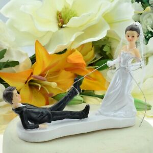 Bride Dragging Groom by the Ankle Comical Wedding Cake Topper