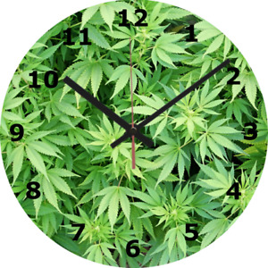 WALL CLOCK WEED 25cm Skunk Home Decor diy Smoking Stoner Cannabis Stylish 243