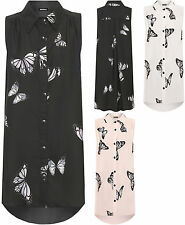 Womens Plus Butterfly Print Hi Lo Dip Hem Sleeveless Shirt Ladies Long Top 14-28