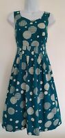 Womens Seasalt Green Spotty Pleated Cotton Sleeveless Vintage Style Tea Dress 8.