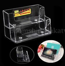 Clear Desktop Business Card Holder Display 2 Stand Acrylic Plastic Desk Shelf