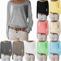 Women's Plain Long Sleeve T-Shirt Blouse Ladies Casual Loose Tops Tee Shirts