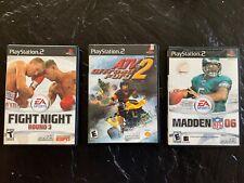 Lot Of 3 Playstation 2 Video Games Fight Night, Madden 06, Atv Offroad Fury 2