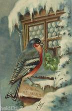 """""""Neujahr, Vogel, Eiszapfen, Winterlandschaft, Klee""""1905, Prägekarte ♥ (10737 )"""