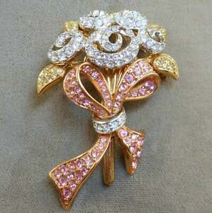 Sapphire & Diamond Flower Bouquet Ribbon Brooch Pin in 18K Tri-Color Gold Over