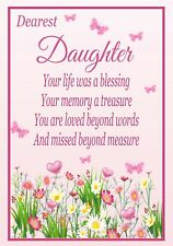 Memorial Bereavement Card Birthday Mum Gran Granny Auntie Daughter Sister F41