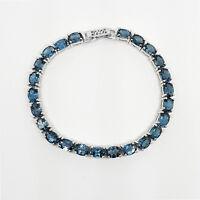 925 Sterling Silver 7x5mm Natural London Blue Topaz Gemstone Tennis Bracelet