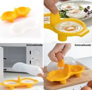 Cuecehuevos Doble de Silicona,libre BPA,uso en microondas sartén/cazuela vapor