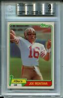 1981 Topps Football 216 Joe Montana 49ers Rookie Card Graded BGS 9 9.5 Centering