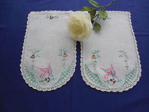 Vintage Butterfly Embroidered Linen Doilies with Crocheted Border