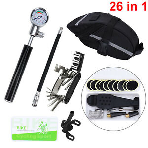 Bike Repair Multi-tool Kit 26 in 1 Bicycle Mountain Cycle Puncture Tyre Pump Bag