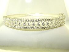 Oval Hinged Bangle Bracelet 19.2 grams New Cubic Zirconia Sterling Silver .925