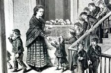 Christmas at Ladies Mission 1871 CHARITY GIVING BREAD to CHILDREN Antique Print
