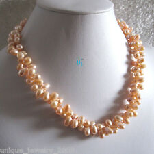 """18"""" 6-7mm 2 Row Peach Pink Rice Freshwater Pearl Necklace Strand"""